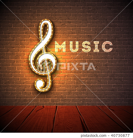 Music illustration with violin key lighting signboard on brick wall background. Vector design for 40730877