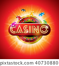 Casino Illustration with shiny neon light letter and roulette wheel on red background. Vector 40730880