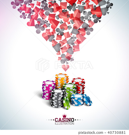 Vector illustration on a casino theme with poker cards and playing chips on white background 40730881