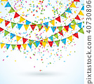 Celebrate Illustration with Party Flags and Falling Confetti on White Background. Vector Holiday 40730896