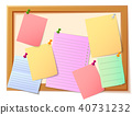 Notice board filled with various stationary items 40731232