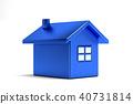 Blue House Real Estate. 3D Rendering Illustration 40731814
