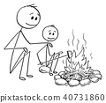Cartoon of Father and Son Sitting Around Fire or Campfire 40731860