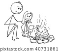 Cartoon of Father and Daughter Sitting Around Fire or Campfire 40731861