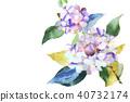 수국 꽃 종이 뜯어 그림 40732174