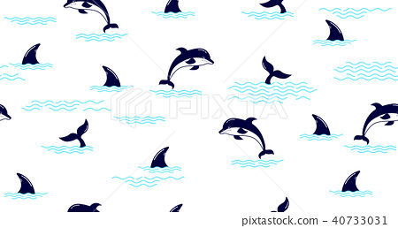 Seamless pattern with Dolphin fin,Dolphin tail 40733031