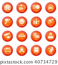 Hotel service icons set red vector 40734729