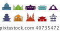 Temple icon set, color outline style 40735472