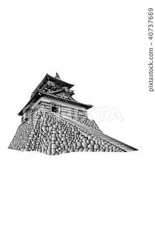 Japanese castle extant Tenshu Maruoka Castle Tenshu black and white 40737669