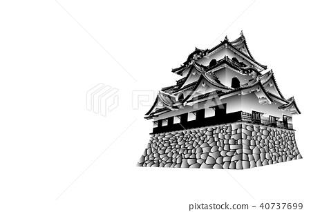 日本城堡现存Tenshu Hikone城堡黑白 40737699