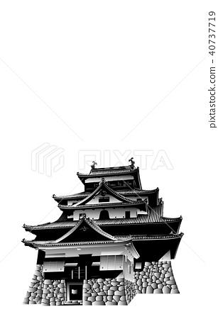 日本城堡现存Tenshu Matsue城堡黑白 40737719
