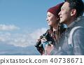 富士山视图徒步旅行夫妇 40738671