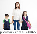 Mother holding hand of children ready go to school 40740827