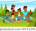 Vector cartoon african family at picnic party 40741205