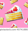 strawberry cake watercolor seamless pattern 40741886