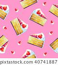 strawberry cake watercolor paint seamless pattern 40741887