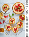 tartlets with strawberries on a table 40743466