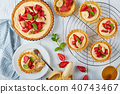 delicious tartlets with strawberries, flat lay 40743467