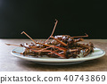 Fried insects in dish on wooden table  40743869
