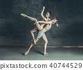 The young modern ballet dancers posing on gray studio background 40744529