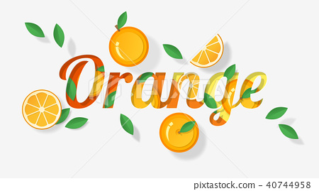 Word orange design in paper art style 40744958
