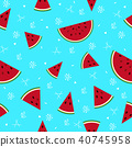 Colorful watermelon fruits seamless summer pattern 40745958