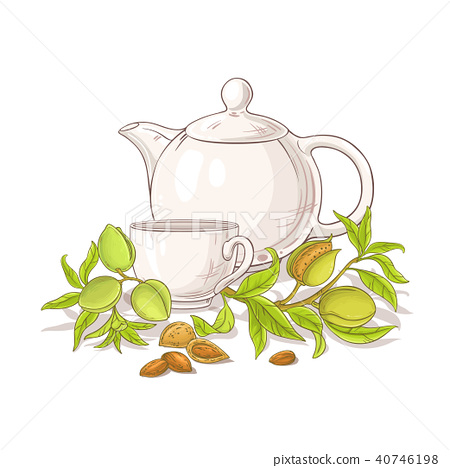 apricot tea in teapot llustration 40746198
