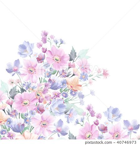 水彩玫瑰花採集 40746973