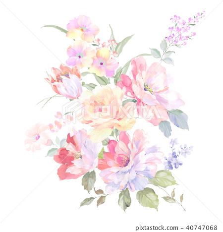 水彩玫瑰花採集 40747068