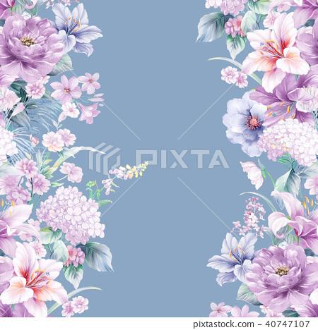 자주색 수채화 꽃 40747107