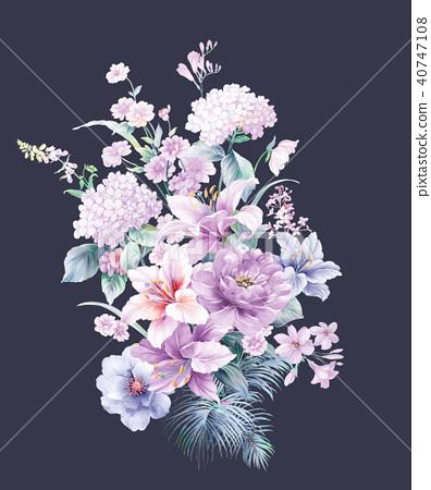 紫色水彩花 40747108