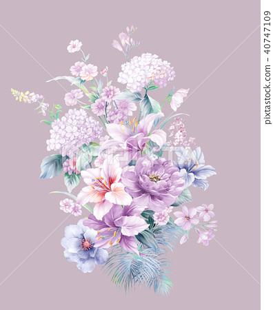 자주색 수채화 꽃 40747109