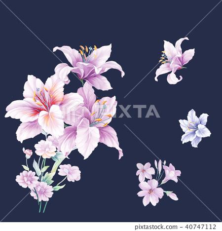 紫色水彩花 40747112