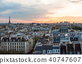 Paris skyline aerial view at sunset 40747607