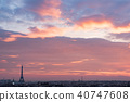 Paris skyline with purple clouds at sunset 40747608
