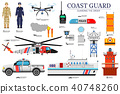 coast guard day flat icoms set. Guarding the order 40748260