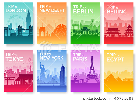 Travel of the world brochure with typography set. 40751083