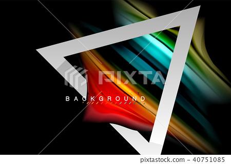 Liquid fluid colors holographic design with metallic style line shape 40751085