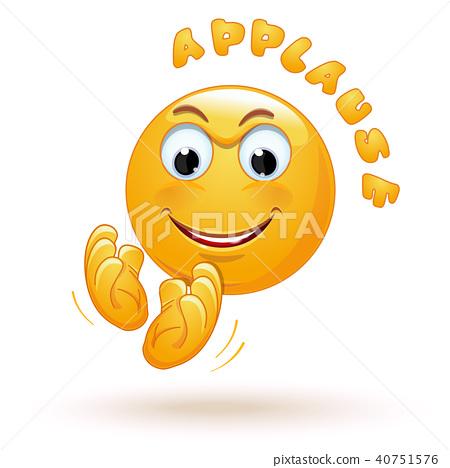 Joyful emoticon applauds. Joyful emoji claps 40751576
