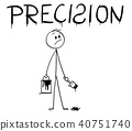 Cartoon of Businessman With Brush and Paint Can Painting the Word Precision With Spelling Mistake 40751740