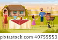 Family Grill Party on Backyard Vector Concept 40755553