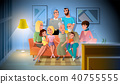 Big Family Evening Meeting at Home Vector Concept 40755555