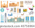 Dubai vector set. Travel invitation concept  40756964