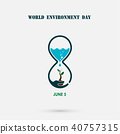 Water drop and sandglass icon with tree icon. 40757315