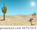 Sandy desert landscape with cactus and wooden sign 40757975