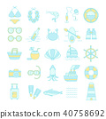 Summer Vacation Icon set,Travel symbol 40758692