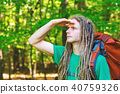 Male hiker with backpack looking at something ahead 40759326