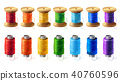 Vector set of colored thread spools for sewing 40760596