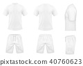 Vector set of white sport t-shirts and shorts 40760623