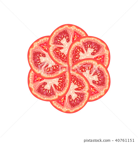 Vector decorative round from tomato slice 40761151